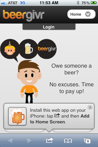 BeerGivr Mobile Homepage